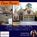 Open House 10/07 on Hickorywoods Drive in Auburn